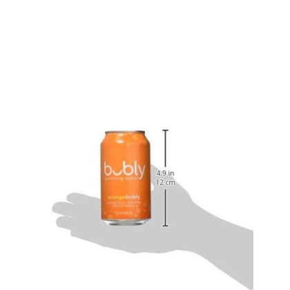 bubly Sparkling Water, Orange , 12 fl oz. cans, pack of 18