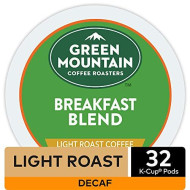 Green Mountain Coffee Roasters, Breakfast Blend Decaf Coffee, Keurig Single-Serve K-Cup Pods, Light Roast, 32 Count
