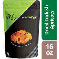 Nut Cravings Dried Turkish Apricots - Sweet, Healthy Dehydrated Fruit Snacks With No Sugar Added - 16 Ounce