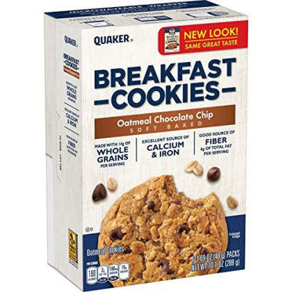 Quaker Breakfast Cookies, Oatmeal Raisin And Oatmeal Chocolate Chip Variety Pack, 6 Count In Single Box (Pack Of 4)