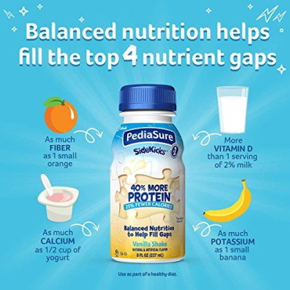 Pediasure Sidekicks, High Protein Nutrition Shake For Kids, Vanilla, 8 Fl Oz, Pack Of 24