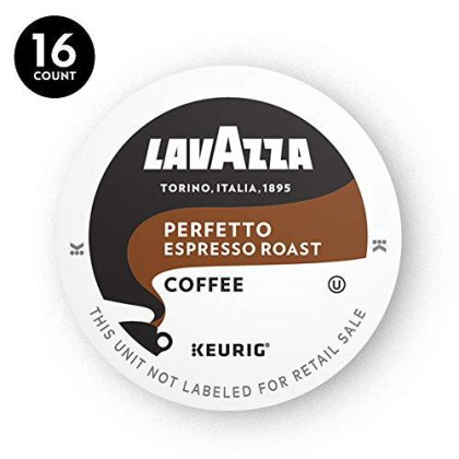 Lavazza Perfetto Single-Serve Coffee K-Cups For Keurig Brewer, Dark And Velvety Espresso Roast, 16-Count Box Net Wt 5.5 Oz