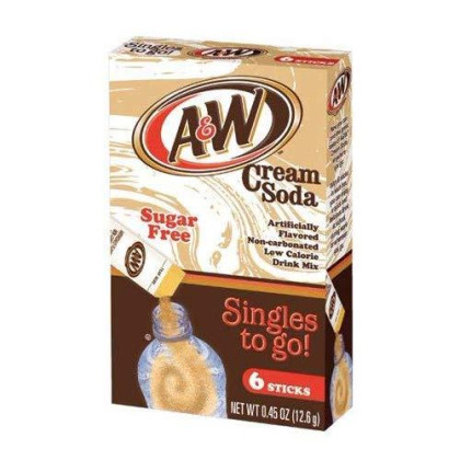 A&W Cream Soda Singles To Go Powder Packets - Sugar Free, Non-Carbonated Cream Soda Flavored Water Drink Mix, 6 Count ( Pack Of 12 ) - Original Flavor
