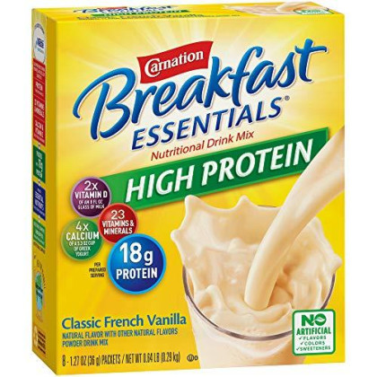 Carnation Breakfast Essentials High Protein Powder Drink Mix, Classic French Vanilla, 10.24 Ounce, (Pack Of 6) (Packaging May Vary)
