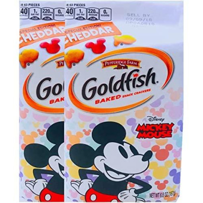New Pepperidge Farm Goldfish Baked Special Edition Cheddar Mickey Mouse Net Wt 6.6 Oz (2)