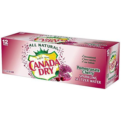 Canada Dry Pomegranate Cherry Seltzer 12 Oz Can - Pack Of 24
