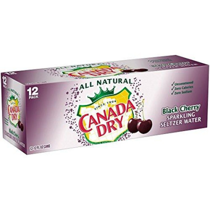 Canada Dry Black Cherry Seltzer 12 Oz Can - Pack Of 24