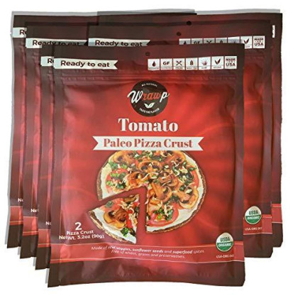 Paleo Pizza Crust   6 Pack Tomato Flavored Organic Gluten Free, Dairy Free, Soy Free, Nut Free And Vegan Pizza Crust