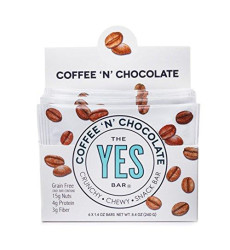 Yes Bar - Coffee 'N' Chocolate - (6Count) Plant Based Protein, Decadent Snack Bar - Vegan, Paleo, Gluten Free, Low Sugar, Healthy Snack, Breakfast, On-The-Go, For Kids & Family