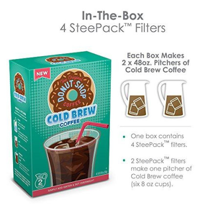 The Original Donut Shop, Cold Brew Coffee, Coarse Ground, Makes 8-48Oz. Pitchers Of Real Cold Brew Coffee, (4 Boxes Of 4 Filters)