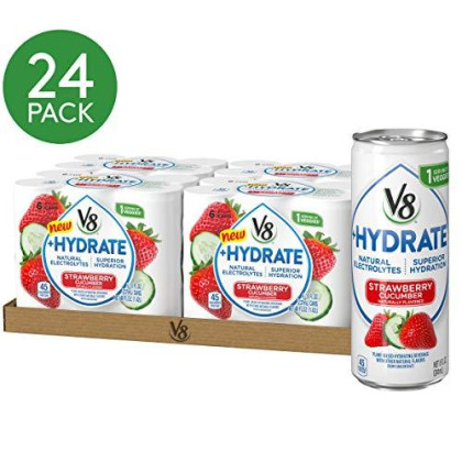 V8 +Hydrate Plant-Based Hydrating Beverage, Strawberry Cucumber, 8 Oz. Can, 6 Count (Pack Of 4)