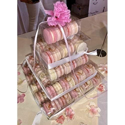 French Macarons Party Favors - 10 Pack (Pink & White)