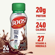 Boost High Protein Complete Nutritional Drink, Rich Chocolate, 8 Fl Oz Bottle, 24 Pack (Packaging May Vary)