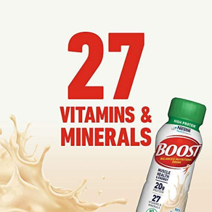 Boost High Protein Complete Nutritional Drink, Very Vanilla, 8 Fl Oz Bottle, 24 Pack (Packaging May Vary)
