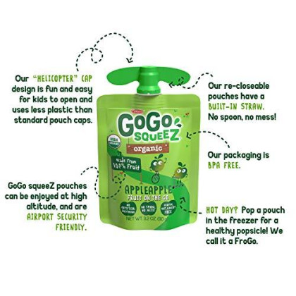 Gogo Squeez Organic Applesauce On The Go Apple Apple 3.2 Ounce 12 Pouches Gluten Free Vegan Friendly Unsweetened Applesauce Recloseable Bpa Free Pouches Package May Vary