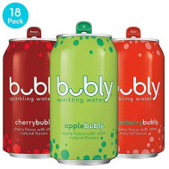 Bubly Sparkling Water, 3 Flavor Variety Pack (Apple/Cherry/Strawberry), 12 Fluid Ounces Cans (18 Pack)