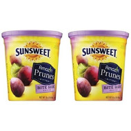 Sunsweet Amazin Prunes, Bite Size Pitted Prunes, 2 16 Oz Containers Of Dried Plums - Plus A Prune Recipe Book- Great Value