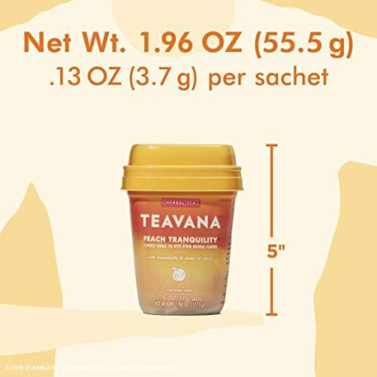 Teavana Peach Tranquility, Herbal Tea With Chamomile And Notes Of Citrus, 60 Count (4 Packs Of 15 Sachets)