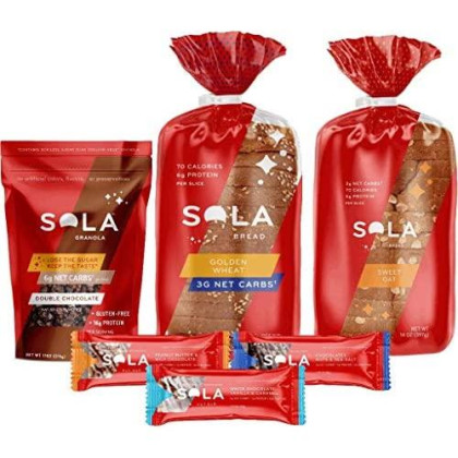 Sola Double Chocolate Variety Pack, 1 White Wheat Bread, 1 Sweet Oat Bread, 1 White Chocolate Vanilla Bar, 1 Chocolate Sea Salt Bar, 1 Peanut Butter Bar, 1 Double Chocolate Granola, 6 Ct