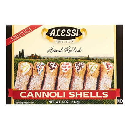 Alessi Cannoli 6 Sicilian Style Hand Rolled Shells Imported From Italy 1 Pack 4Oz (1)