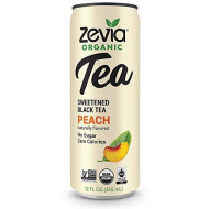 Zevia Organic Black Tea Peach, 12 Count, Sugar-Free Brewed Iced Tea Beverage, Naturally Sweetened With Stevia, Zero Calories, No Artificial Sweeteners