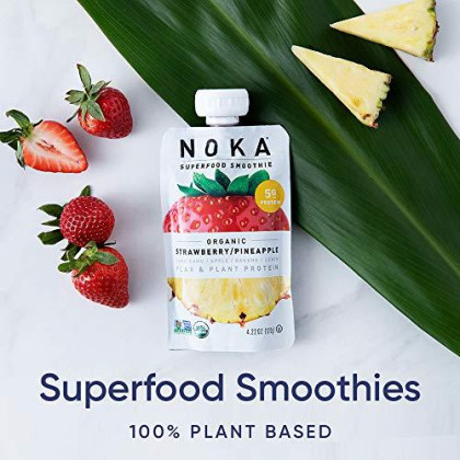Noka Superfood Pouches (Strawberry Pineapple) 12 Pack | 100% Organic Fruit And Veggie Smoothie Squeeze Packs | Non Gmo, Gluten Free, Vegan, 5G Plant Protein | 4.2Oz Each