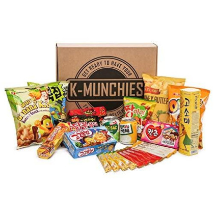 Korean Snack Box Set With Chips, Ramen, Food, Noodles, Variety Assortment. Excellent Healthy Gift Or Care Package For Birthday And Holiday (16 Different Items)