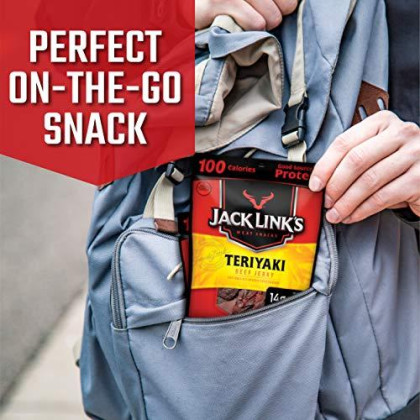 Jack Link'S Beef Jerky Variety Pack, 15 (1.25 Oz Bags) - Variety Pack Includes Original, Teriyaki And Peppered Beef Jerky, Great For Lunch Boxes, Good Source Of Protein - 96% Fat Free, No Added Msg