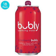 Bubly Sparkling Water, Cranberry, 12 Fluid Ounces Cans (18 Pack)