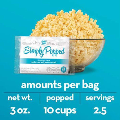 Jolly Time Simply Popped | Microwave Popcorn With Ghee Clarified Butter, Sea Salt, Palm Oil And Non-Gmo Pop Corn Kernels (Bulk 24-Count Box)