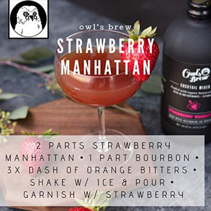 Owl'S Brew Strawberry Manhattan Cocktail Mixer, 16 Ounce Bottle (Pack Of 6)