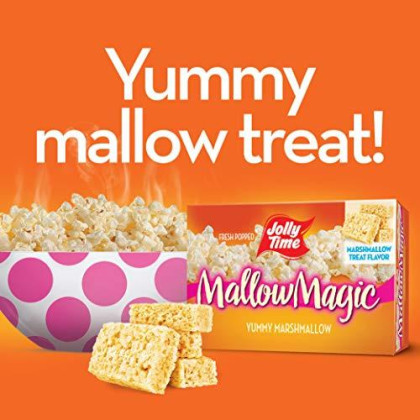 Jolly Time Mallow Magic   Sweet Marshmallow Microwave Popcorn With Candy Coated Sugar Topping For An Easy Gourmet Treat (2-Count Box, Pack Of 4)