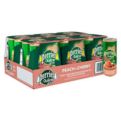Perrier & Juice Drink, Peach And Cherry Flavor, 8.45 Fl Oz. Cans (24 Pack)