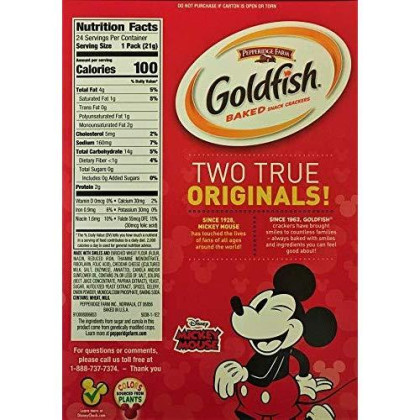 Pepperidge Farm Goldfish, Mickey Mouse Special Edition! Cheddar Baked Snack Crackers 18 Oz, 1 Box