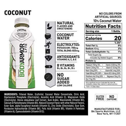 Bodyarmor Lyte Sports Drink Low-Calorie Sports Beverage, Coconut, Natural Flavors With Vitamins, Potassium-Packed Electrolytes, No Preservatives, Perfect For Athletes, 16 Fl Oz (Pack Of 12)