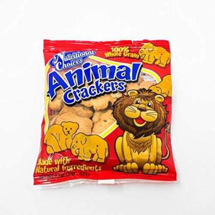 Nutritional Choices Animal Crackers 20 Count   Original Individual Packages Bulk   100% Whole Grains Natural Ingredients Lunch Snacks   No Preservatives 3G Fiber   Nut Free Facility