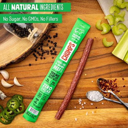 Chomps Grass Fed Beef Jerky Meat Snack Sticks, Keto, Paleo, Whole30 Approved, Low Carb, High Protein, Sugar Free, Gluten Free, Non-Gmo, Nitrate Free, 90 Calories 1.15 Oz, Jalape