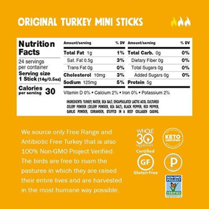 Chomps Mini Free Range Turkey Jerky Meat Snack Sticks, Keto, Paleo, Whole30 Approved, Low Carb, High Protein, Gluten Free, Sugar Free, Nitrate Free, 30 Calories 0.5 Oz Sticks, Original Turkey 24 Pack