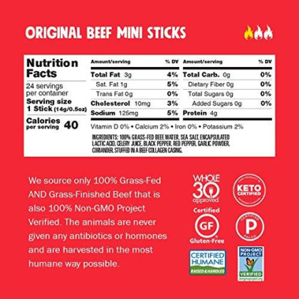 Chomps Mini Grass Fed Beef Jerky Meat Snack Sticks, Keto, Paleo, Whole30 Approved, Sugar Free, Low Carb, Nitrate Free, Gluten Free, High Protein, Non-Gmo, 40 Calories 0.5 Oz, Original Beef 24 Pack