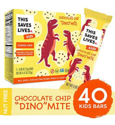 """Gluten Free Healthy Granola Snack Bar For Kids, Chocolate Chip """"Dino""""Mite, .88 Oz, 40 Bars; Breakfast Bars By This Saves Lives"""