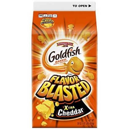 Pepperidge Farm Goldfish Cheddar & Flavor Blasted Xtra Cheddar Crackers, 30 Ounce Cartons (Pack Of 2)