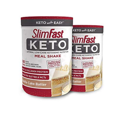 Slimfast 2 Piece Keto Meal Replacement Powder Vanilla Cake Batter, 12.2 Oz, Pack Of 2