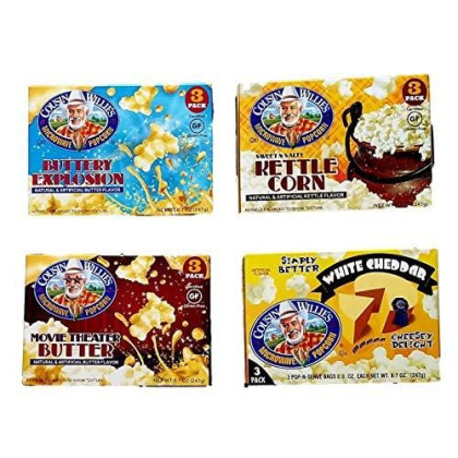 Buttery Explosion, Movie Theater Butter, Sweet & Salty Kettle Corn, White Cheddar - Cousin Willie'S Microwave Popcorn - Variety Pack Bundle Of 4