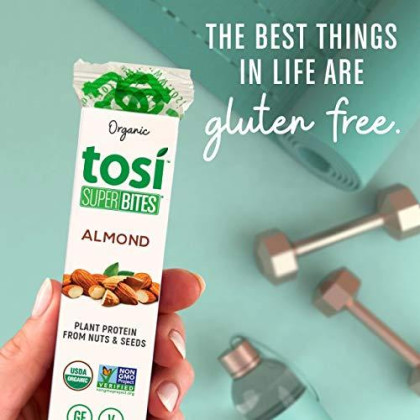 Tosi Organic Superbites Vegan Snacks, Almond, 1Oz (Pack Of 12), Gluten Free, Omega 3S, Plant Protein, Fiber From Flax And Chia Seeds