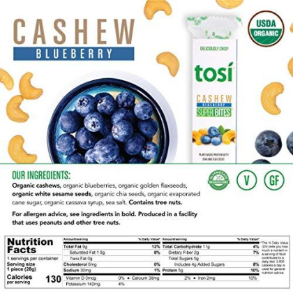 Tosi Organic Superbites Vegan Snacks, Blueberry Cashew, 1Oz (Pack Of 12), Gluten Free, Omega 3S, Plant Protein Bars With Flax And Chia Seeds