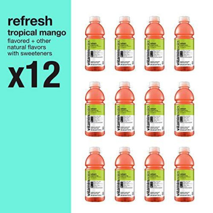 Vitaminwater Electrolyte Enhanced Water With Vitamins, Refresh Tropical Mango, 20 Fluid Ounce (Pack Of 12)