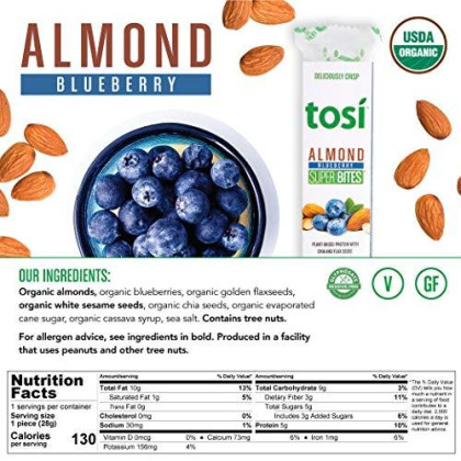 Tosi Organic Superbites Vegan Snacks, Blueberry Almond, 1Oz (Pack Of 12), Gluten Free, Omega 3S, Plant Protein Bars With Flax And Chia Seeds