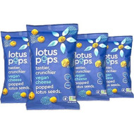 Lotus Pops - Popped Lotus (Water Lily) Seed Snacks - Low Calorie Gluten Free And Vegan Snacks | Plant Protein | Roasted Not-Fried | Paleo | Grainfree | Non Gmo Certified | (Vegan Cheese 4 1Oz Packs)