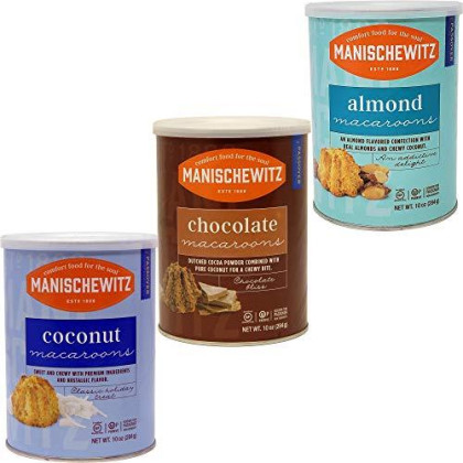 Manischewitz Macaroon Almond, Chocolate, Coconut, Kosher For Passover - Variety Pack, 10 Ounce Canister (Pack Of 3, Total Of 30 Oz)