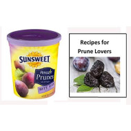"""Sunsweet Dried Prunes, Bite Size Pitted Prunes Bundle, 1 16 Oz Canister Of Dried Plums Plus """"Recipes For Prune Lovers"""" - Great Value"""